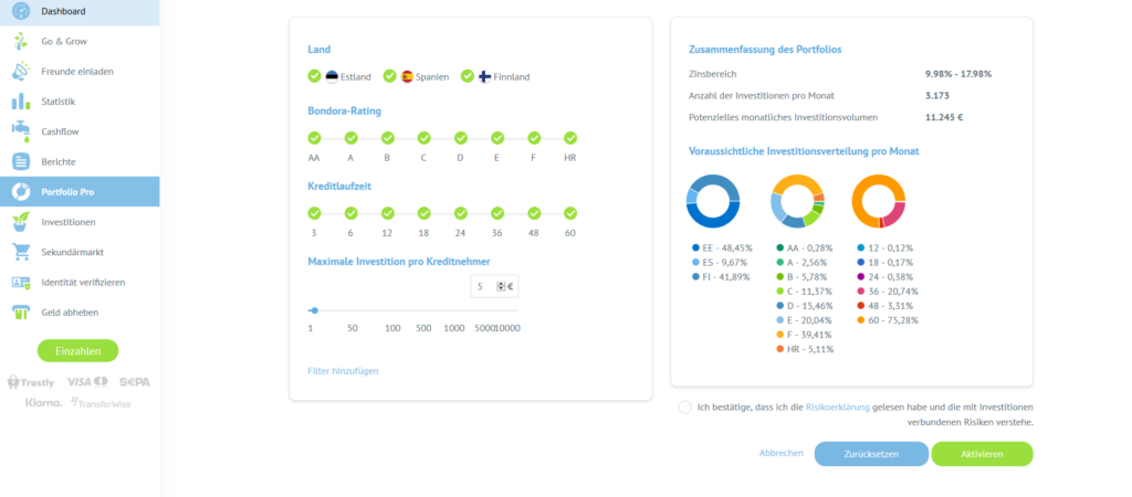 "Abbildung 1: Bondora Portfolio Pro ""Neues Portfolio hinzufügen""   Quelle: Screenshot im eigenen Bondora Account"